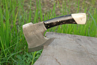 Hand Made Damascus Art Hunting Cleaver Chopper Axe Knife With Buffalo Horn Handle AH-1413