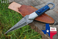 Hand Forged Damascus Steel Dagger Throwing Boot Knife With Wood Handle AH-1415