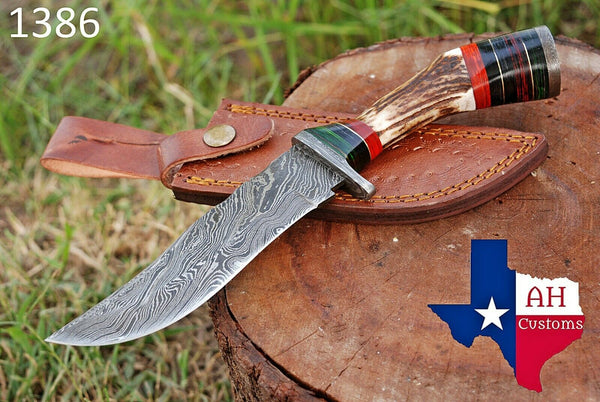 Hand Forged Damascus Steel Hunting Knife With Stag Handle And Damascus Guard AH-1386