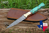Hand Forged Damascus Steel Dagger Throwing Boot Knife With Risen Handle & Brass Bolster AH-1435