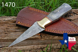 Hand Forged Damascus Steel Dagger Boot Knife With Buffalo Bone Handle & Brass Bolster AH-1470