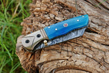 Hand Forged Damascus Steel Folding Knife With Bone Handle & Copper Bolster AH-1462