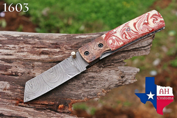 Custom Hand Forged Damascus Steel Folding Pocket Knife With Risen Handle & Engraved Bolster AH-1603