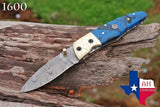 Custom Hand Forged Damascus Steel Folding Pocket Knife With Risen Handle & Engraved Bolster AH-1600