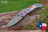 Custom Hand Forged Damascus Steel Folding Pocket Knife With Risen Handle & Brass Engraved Bolster AH-1610