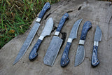 6 Pieces Hand Forged Damascus Steel Chef Kitchen Knife Set With Stained Wood Handle  AH-1524