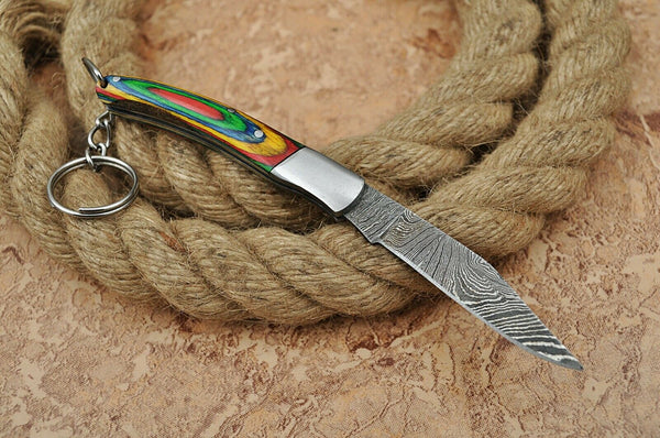 3 Inches Handmade Damascus Steel Folding Knife Key Chain With Wood & Steel Handle