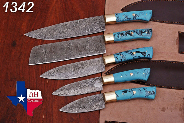 5 Pieces Hand Forged Damascus Steel Chef Kitchen Knives Set With Risen & Brass Handle AH-1342