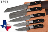5 Pieces Hand Forged Damascus Steel Chef Kitchen Knives Set With Horn Handle AH-1353