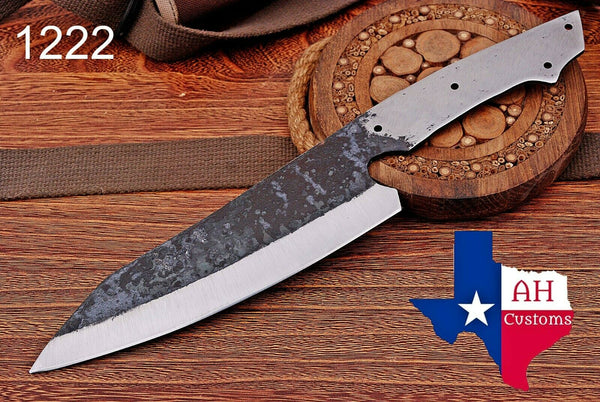 1095 Hand Forged Railroad Spike Blank Blade Chef Knife AH-1222