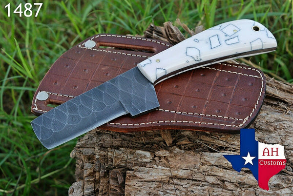 Hand Forged Damascus Steel Bull Cutter/Cowboy Knife With Risen Handle AH-1487