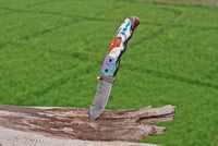 Custom Hand Forged Damascus Steel Folding Pocket Knife With Risen Handle & Engraved Bolster AH-1612