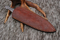 Hand Forged Damascus Steel Dagger Throwing Boot Knife With Damascus Handle  AH-1545