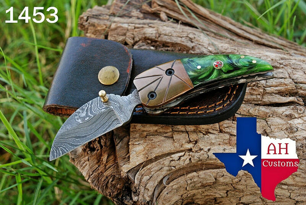 Custom Hand Forged Damascus Steel Folding Knife With Risen Handle & Copper Bolster AH-1453