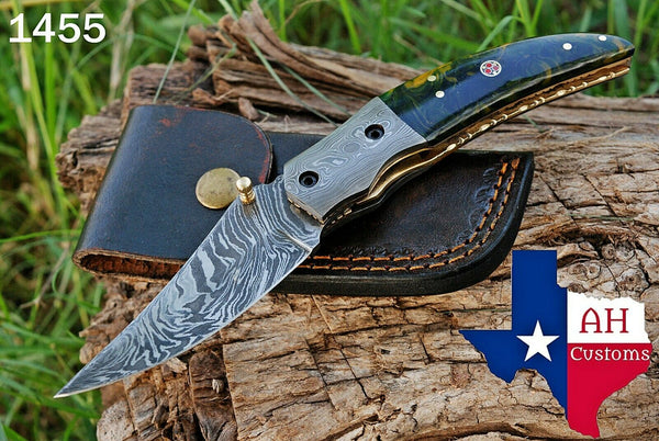 Custom Hand Forged Damascus Steel Folding Knife With Buffalo Bone Handle & Damascus Bolster AH-1455