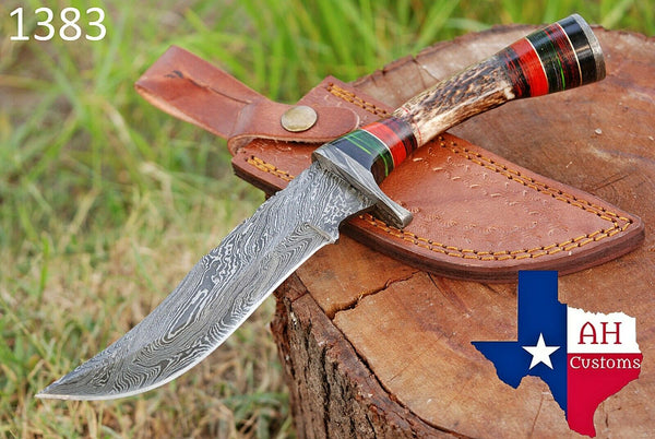 Hand Forged Damascus Steel Hunting Knife With Stag Handle And Damascus Guard AH-1383