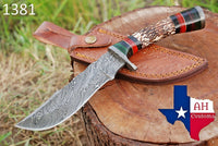 Hand Forged Damascus Steel Hunting Knife With Stag Handle And Damascus Guard AH-1381