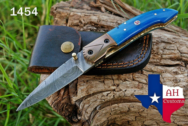 Custom Hand Forged Damascus Steel Folding Knife With Buffalo Bone Handle & Copper Bolster AH-1454