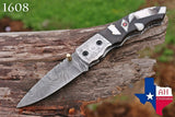 Custom Hand Forged Damascus Steel Folding Pocket Knife With Risen Handle & Brass Engraved Bolster AH-1608