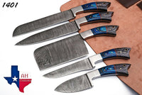 5 Pieces Hand Forged Damascus Steel Chef Kitchen Knives Set With Wood Handle AH-1401