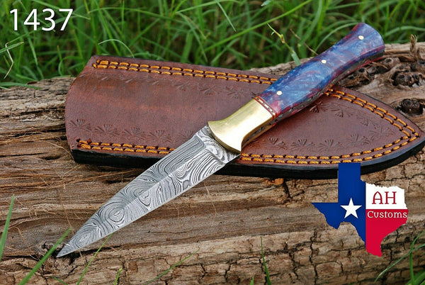 Hand Forged Damascus Steel Dagger Throwing Boot Knife With Risen Handle & Brass Bolster AH-1437