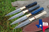 Lot Of 4 Hand Forged Damascus Steel Dagger Throwing Boot Knife With Horn Handle