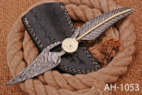 Hand Forged Damascus Steel Folding Pocket Knife With Damascus Steel Handle AH-1053