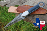 Hand Forged Damascus Steel Dagger Throwing Boot Knife With Bone Handle AH-1414
