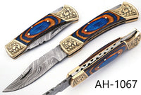 HAND FORGED DAMASCUS STEEL FOLDING KNIFE & ENGRAVED BRASS BOLSTER HANDLE AH-1067