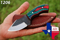 Hand Forged Railroad Spike Carbon Steel Skinner/Hunting Knife With Green & Red Wood Handle AH-1206