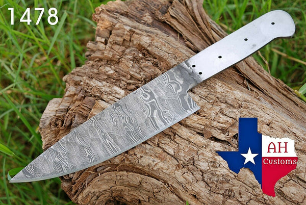"12"" Inches Hand Forged Damascus Steel Blank Blade Chef's Knife Blank Blade For Making Supplies AH-1478"