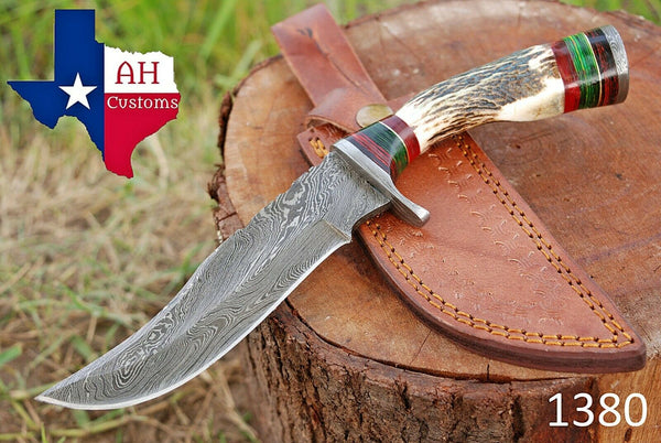 Hand Forged Damascus Steel Hunting Knife With Stag Handle And Damascus Guard AH-1380