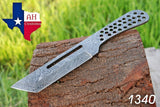 Hand Forged Damascus Steel Blank Blade Tanto Hunting Full Tang Knife AH-1340