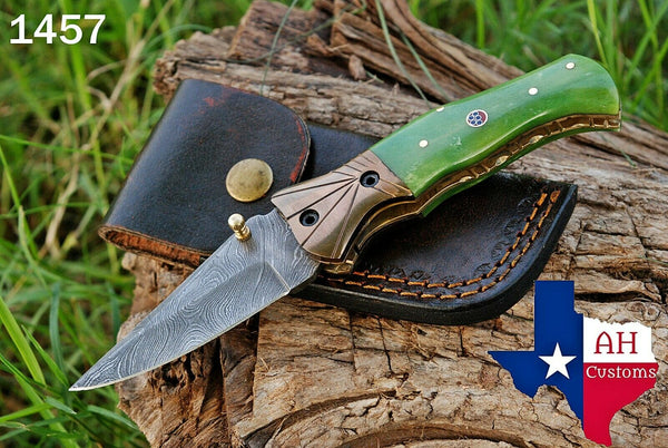 Hand Forged Damascus Steel Folding Knife With Buffalo Bone Handle & Copper Bolster AH-1457