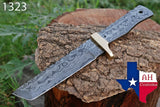 Hand Forged Damascus Steel Tanto Blank Blade Hunting Knife With Brass Bolster AH-1323