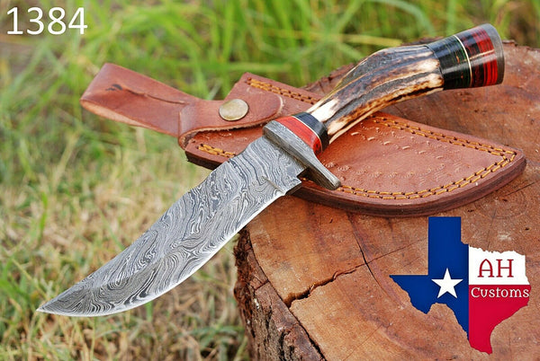 Hand Forged Damascus Steel Hunting Knife With Stag Handle And Damascus Guard AH-1384