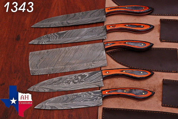 5 Pieces Hand Forged Damascus Steel Chef Kitchen Knives Set With Stained Wood & Brass Handle AH-1343