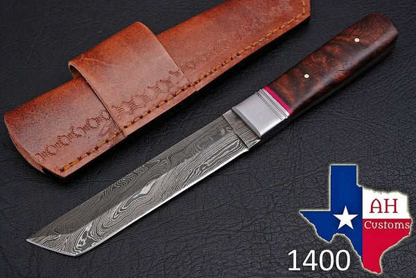 Hand Forged Damascus Steel Tanto Point Blade Hunting Knife With Wood Handle AH-1400