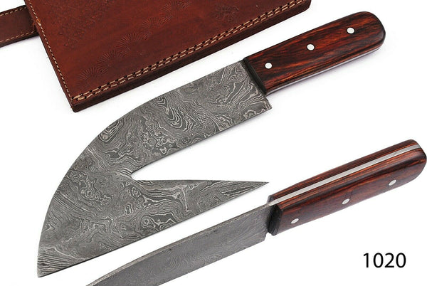 Custom Hand Forged Damascus Steel Meat Cleaver,Chef Knife With Pukka Wood Handle AH 1020