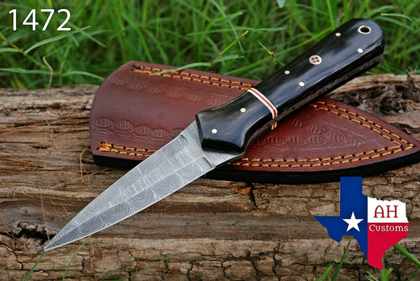 Hand Forged Damascus Steel Dagger Boot Knife With Buffalo Horn Handle AH-1472