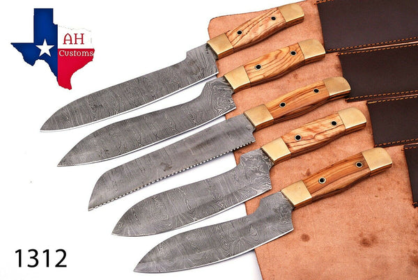 5 Pieces Hand Forged Damascus Steel Chef Kitchen Knives Set With Horn Handle AH-1312