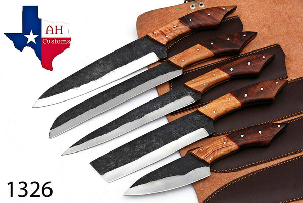 5 Pieces Hand Forged Railroad Spike Carbon Steel Chef Kitchen Knife Set AH-1326