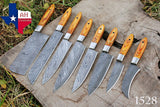 8 Pieces Hand Forged Damascus Steel Chef Kitchen Knife Set With Stained Wood Handle  AH-1528
