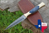 Hand Forged Damascus Steel Dagger Throwing Boot Knife With Bone Handle AH-1417