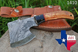 Hand Made Damascus Art Hunting Cleaver Chopper Axe Knife With Buffalo Horn Handle AH-1410