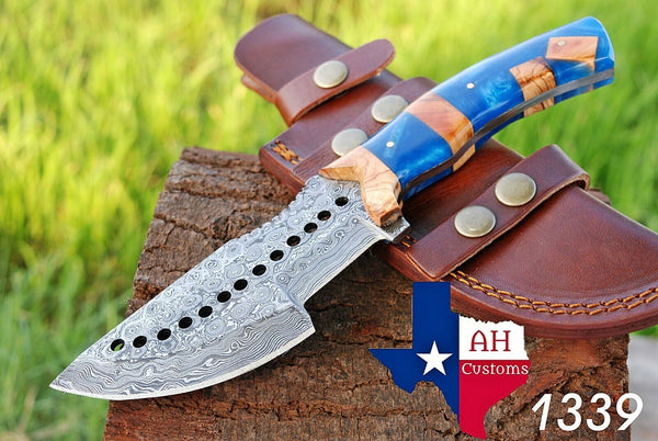 Hand Forged Damascus Steel Tacker Hunting Knife With Risen Handle AH-1339