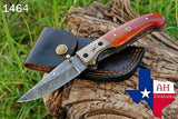 Hand Forged Damascus Steel Folding Knife With Bone Handle & Copper Bolster AH-1464