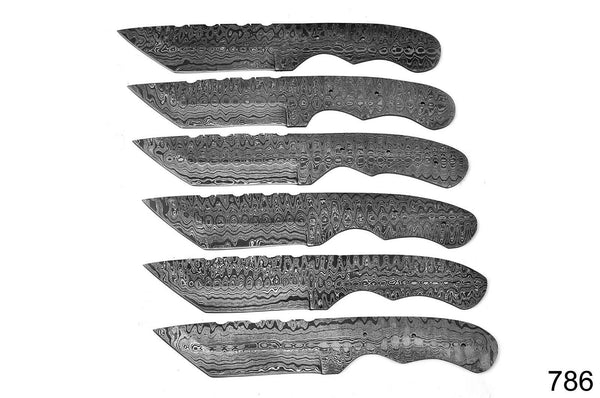 LOT OF 6 Damascus Steel Blank Blade Knife For Knife Making Supplies AH-786
