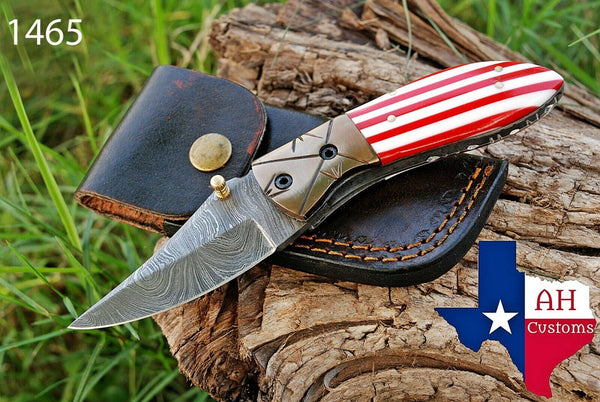 Hand Forged Damascus Steel Folding Knife With Risen Handle & Copper Bolster AH-1465
