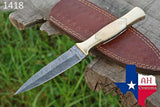 Hand Forged Damascus Steel Dagger Throwing Boot Knife With Bone Handle AH-1418
